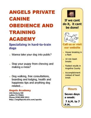 Angel's Private Canine Obedience and Training Academy