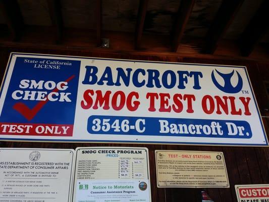 Bancroft Smog Test Only